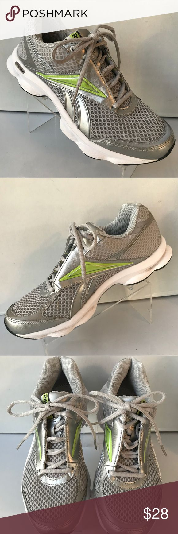 Like new insoles not included Reebok Women 7.5 Gray Silver lime electric Green Athletic Running tennis shoes Ex Condition NO INSOLES they will be included but fabric has been glued see picture selling less expensive #8070 Reebok Shoes Athletic Shoes