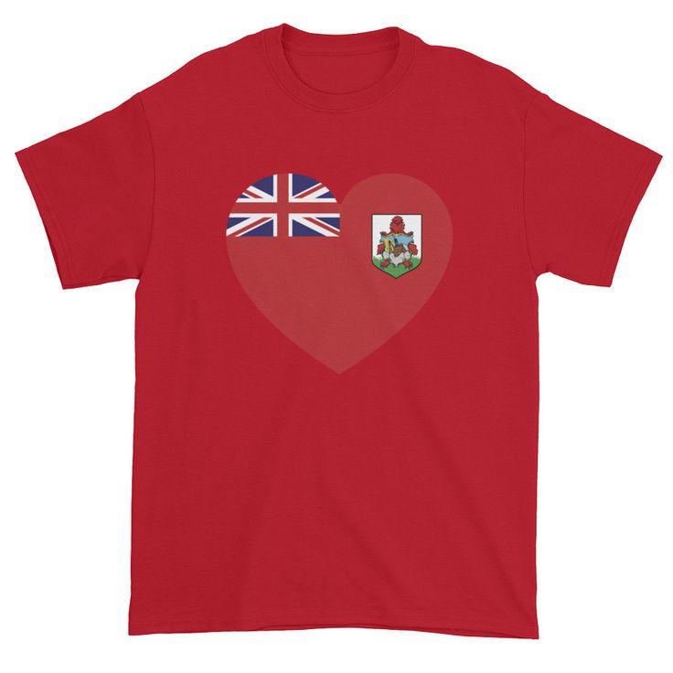 BERMUDA FLAG HEART - Mens/Unisex short sleeve t-shirt
