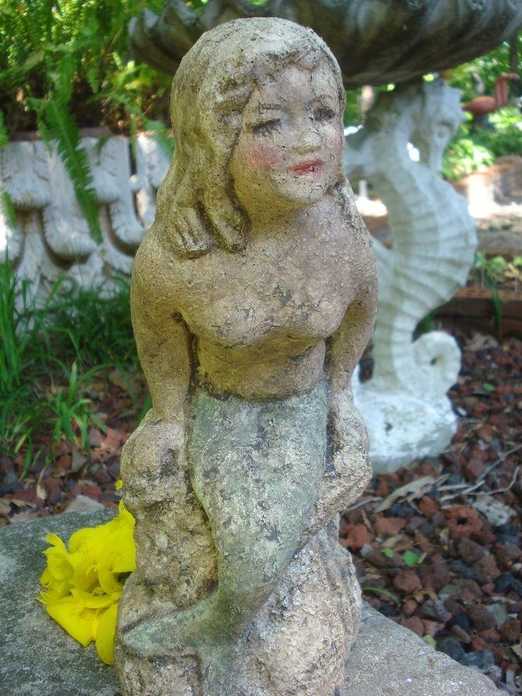 Old Garden Statue: Vintage Cement Mermaid Garden Statue Shabby Chippy