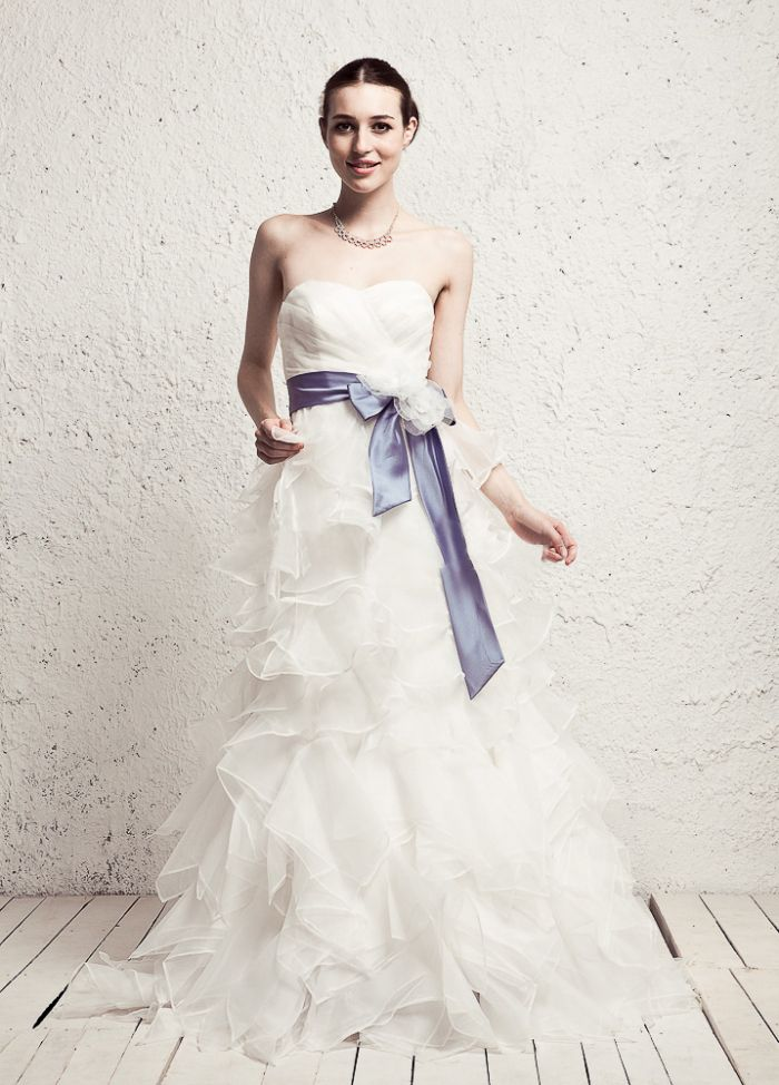 Beauty Strapless Multilayer Tulle With Colored Belt Wedding Dress,Style No.0bg01730,US$405.00