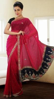 Butta Red Chiffon Embroidered Saree #Online-Cheap-Sarees #Lehenga-Style-Sarees