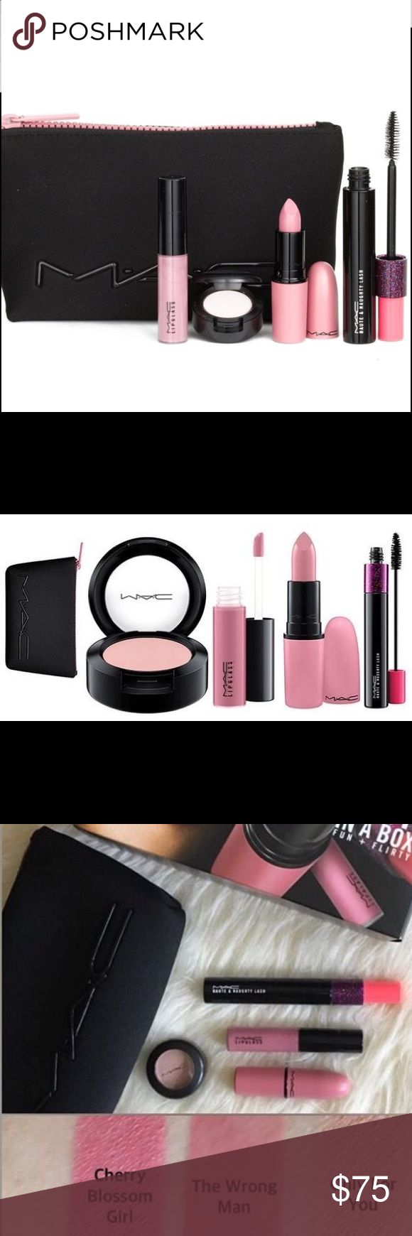 MAC Look in a Box - Fun & Flirty Brand new in a box. SOLD OUT EVERYWHERE!! From Nordstroms Anniversary Sale 2016. If interested, please make an offer or I can discount more via PyPal. Comes with a zip-top pouch to stash your makeup in for quick touch-ups wherever you go.  Kit includes:  - Full-size Eyeshadow in The Wrong Man (0.05 oz.)  - Full-size Haute & Naughty Lash Mascara (0.33 oz.)  - Full-size Lipstick in Cherry Blossom Girl (cremesheen finish) (0.1 oz.)  - Full-size Lipglass in Only…