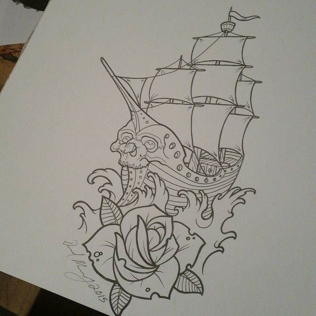 Sketch for Seans ship tattoo