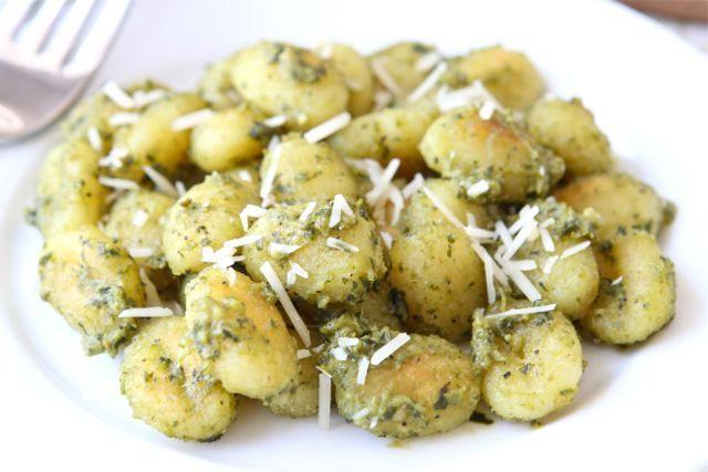 Crispy Gnocchi with Basil Pesto Recipe on twopeasandtheirpod.com So easy and so good!