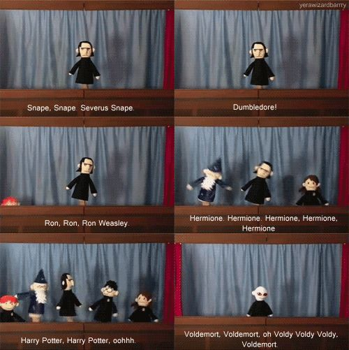 Potter Puppet Pals- Mysterious Ticking Noise- Snape, Ron, Dumbledore, Hermione, Harry, and finally Voldemort