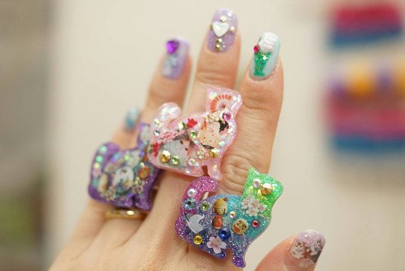 Cat ring cat jewelry kawaii lolita accessory resin ring