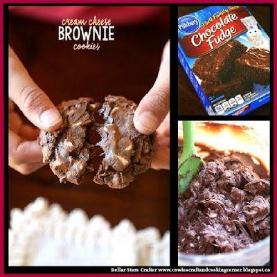 Dollar Store Crafter: Turn A Box Of Pillsbury Chocolate Fudge Brownie Mix Into Cream Cheese Brownie Cookies