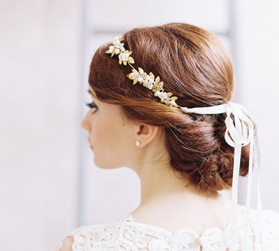 Grecian jeweled bridal leaf hair crown by EricaElizabethDesign