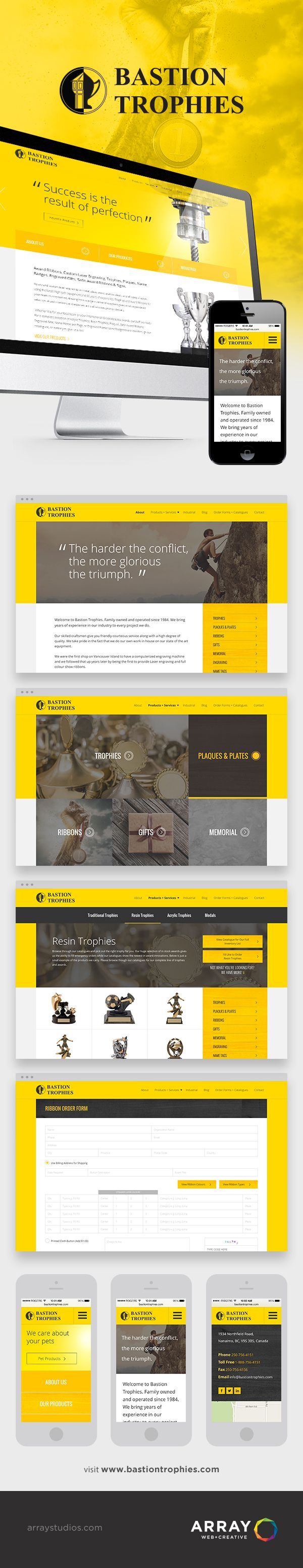 WEBSITE LAUNCH - Bastion Trophies - Array Web + Creative, Nanaimo - Awards Website, Trophy Website, #yellow, #yellowdesign