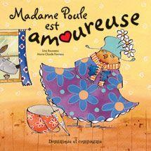 Madame Poule est amoureuse Lina Rousseau,Marie-Claude Favreau Dominique et compagnie epuis le jour où Monsieur Loup est venu soigner Madame Poule, cette dernière pense à lui du matin au soir, et du soir au matin! Comme c'est aujourd'hui jour d'emplettes, elle se fait toute coquette, espérant le croiser sur son chemin. Mais elle ne voit pas l'ombre d'un grand méchant loup de toute la journée… Où est donc passé Monsieur Loup?