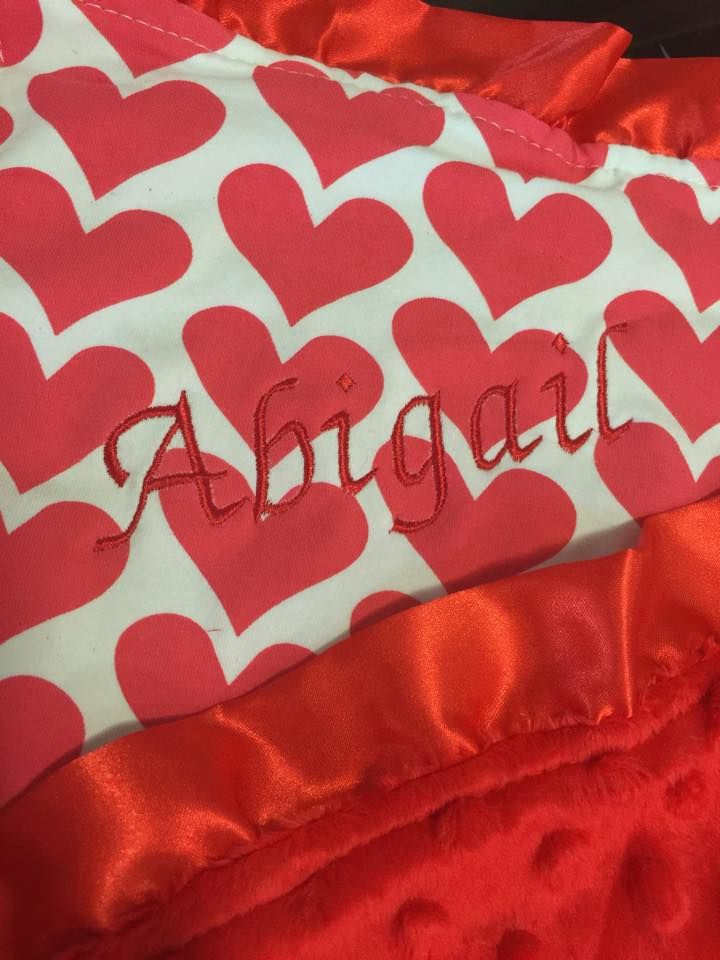 Red Heart Minky Blanket With Red Embroidery http://www.chubbabubbaboutique.com/products/red-love-heart-minky-blanket/  #personalised Baby Blanket #Embroideredbabyblanket #Babyminkyblanket #chubbabubbaboutique