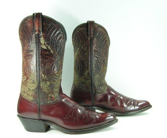 vintage cowboy boots mens 10 D burgundy leather 1980/'s western