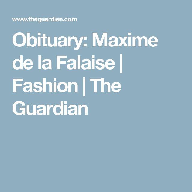 Obituary: Maxime de la Falaise | Fashion | The Guardian