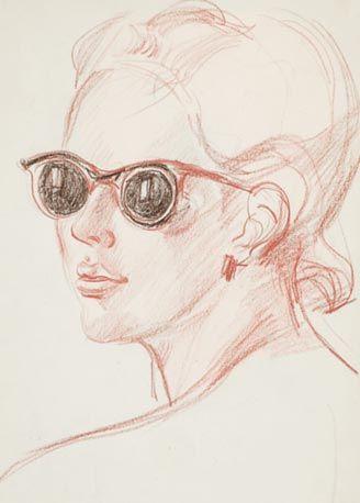 Женский портрет1947 годГрафикаКурская картинная галерея имени А.А.Дейнеки