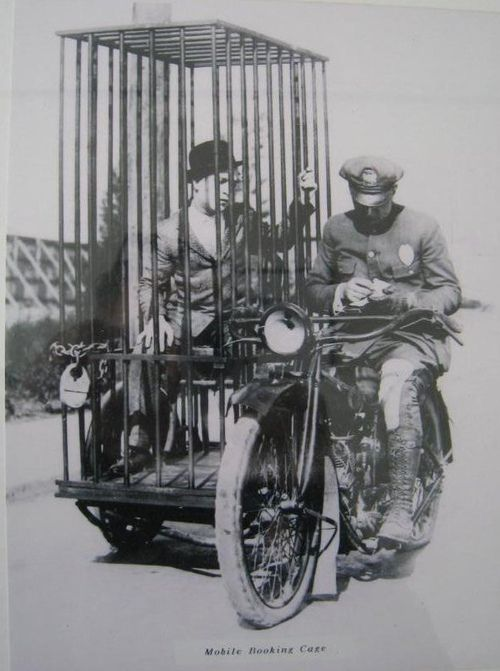 Police on motorcycles have been around for a long time. Old Harley Davidson police motorcycle and mobile booking center. …Awesome.