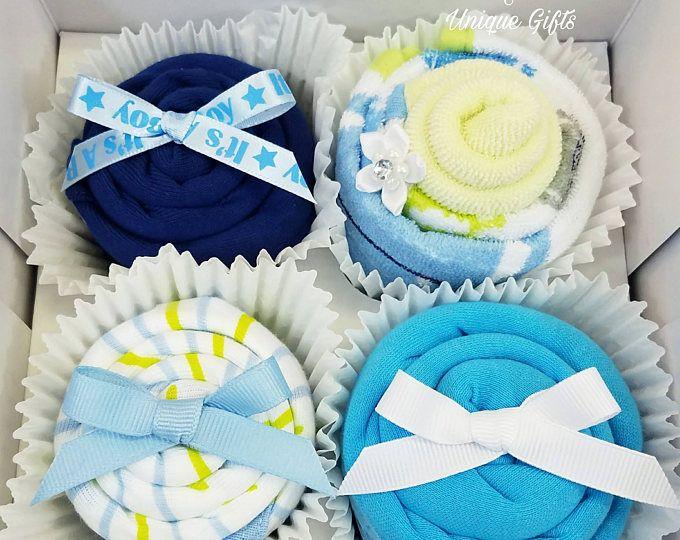 Bambino ragazzo regalo, Onesie/Washcloth Cupcakes, Baby Boy regalo Set, regalo Baby doccia regalo, Baby Cupcakes, nuovo bambino, regali di gravidanza, mamma di essere dono