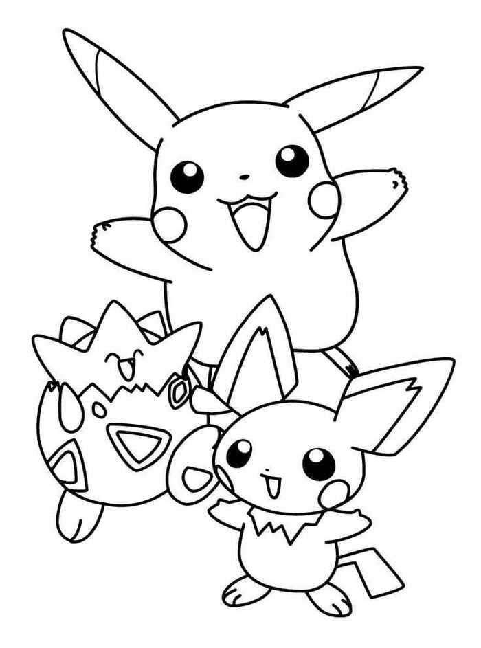 Pokemon Pikachu Togepi And Pichu Coloring Pages In 2020 Cartoon