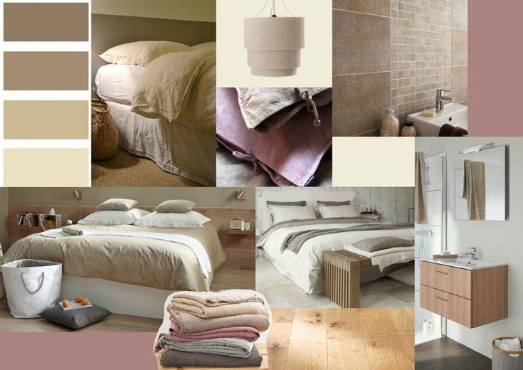 Planche tendance pour une chambre d'amis et son espace salle de bain. Teintes douces et matériaux naturels pour une ambiance apaisante.