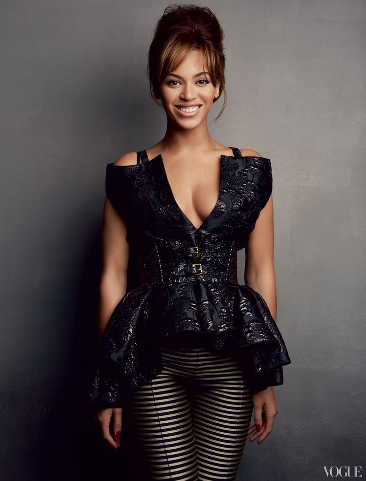 """Beyoncé  Photographed by Patrick Demarchelier    """"I'm going to be tweaking,"""" she says of her next album. """"I still have things to figure out."""" Marni black silk-and-wool brocade top. Haider Ackermann black-and-silver striped jacquard pants."""