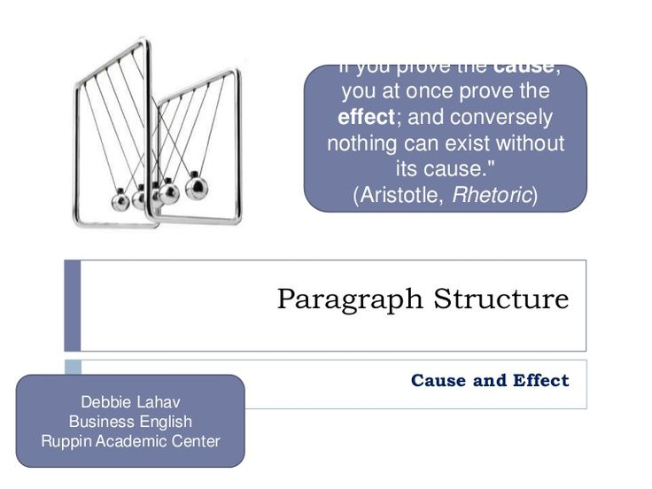Paragraph Structure Cause And Effect by debbielahav via slideshare