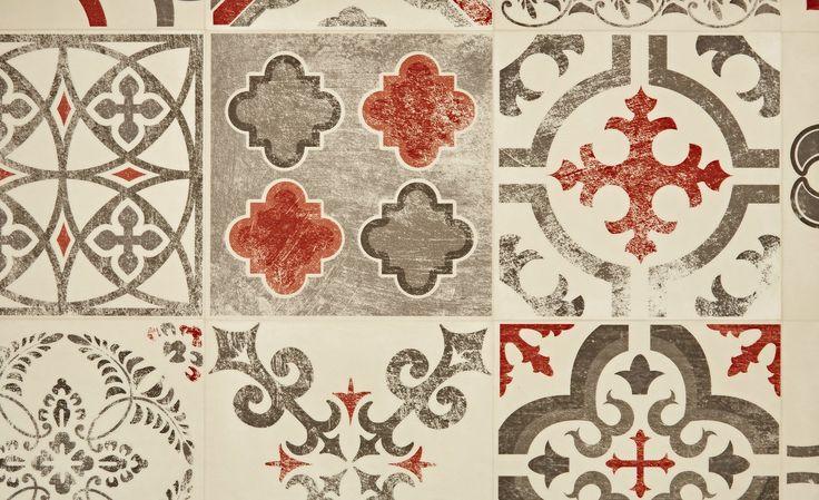 Sol vinyle EXCLUSIVE 240, carreau ciment rouge, rouleau 4 m - Saint Maclou