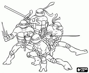 online coloring the four ninja turtles leonardo michelangelo donatello and raphael teenage