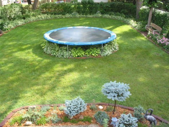 Image Result For Under Trampoline Ideas Backyardtrampolinechildren Backyardtrampolinepatio Trampolinephotogra Garden Trampoline Backyard Backyard Trampoline