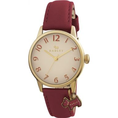 Radley RY2250 Ladies Oversized Dog Charm Watch with Red Leather Strap