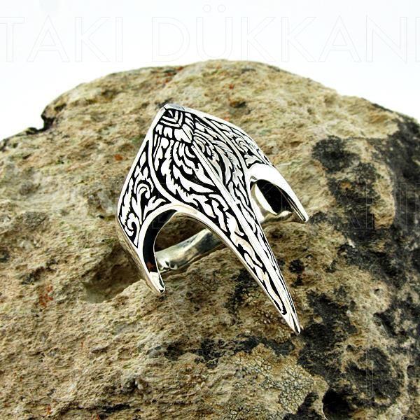 Miğfer Sivri Okçu Zihgir 925 Ayar Gümüş Erkek Yüzük
