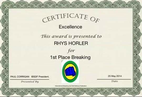 1st Place Board Breaking 2014