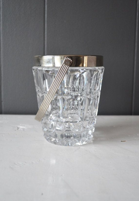 Vintage Textured Crystal Ice Bucket with by DoceVikaVintage