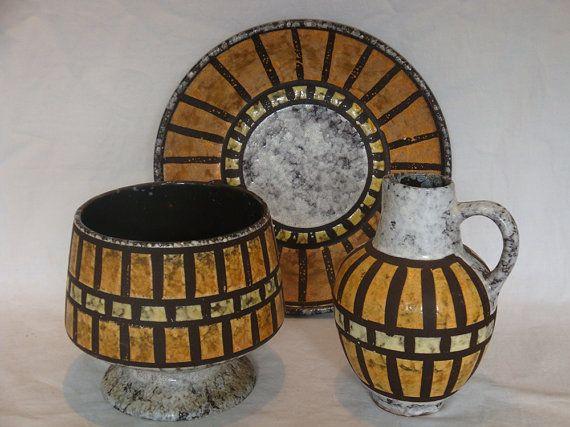 Vintage 3 delige Set van de Oost-Duitse aardewerk Strehla
