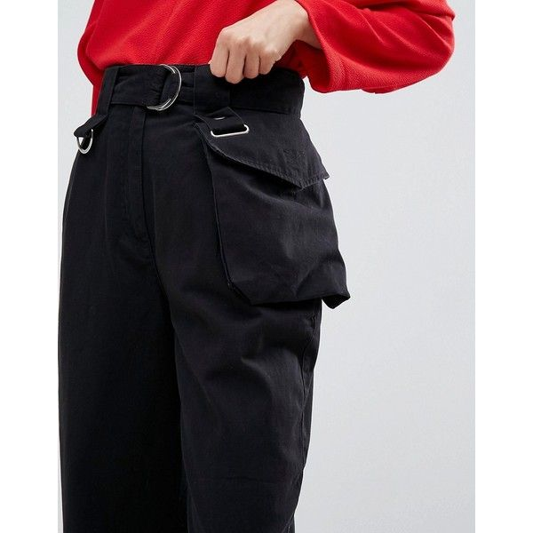 ASOS PEG TROUSERS WITH DETACHABLE BUM BAG IN BLACK ($51) ❤ liked on Polyvore featuring pants, high waisted peg trousers, highwaist pants, regular fit pants, tapered leg pants and peg leg trousers