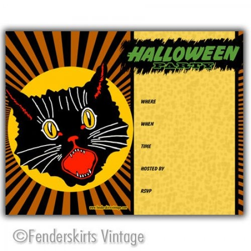 Retro 1950s vintage scary black cat halloween party for Vintage halloween party invitations