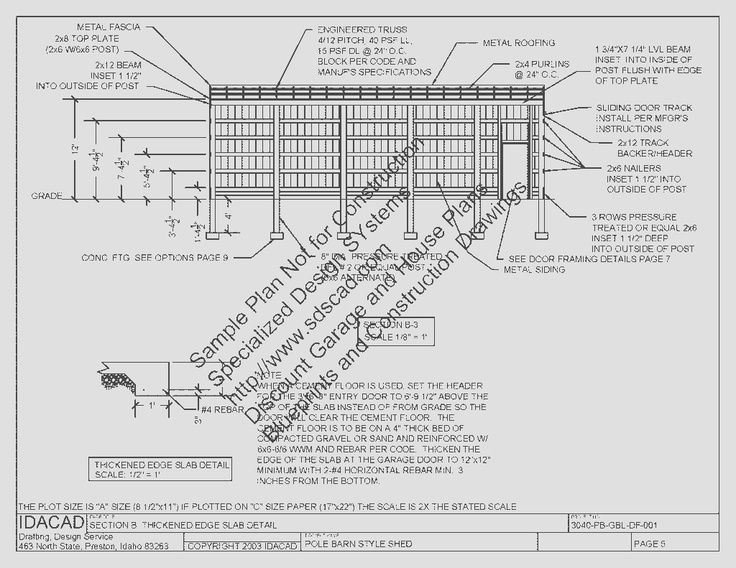 3040PB1 30 X 40 12 Pole Barn Plans Blueprints Construction Drawings