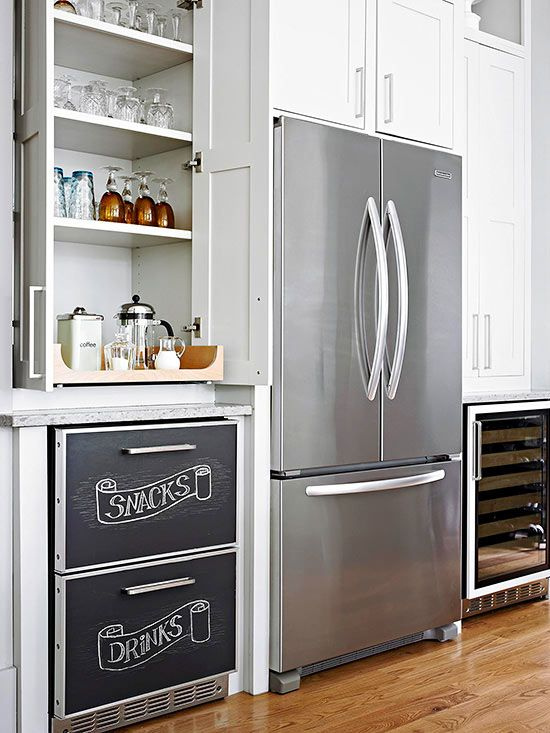 I like these french door style pantry door; maybe on the wall or next to the sliding glass door