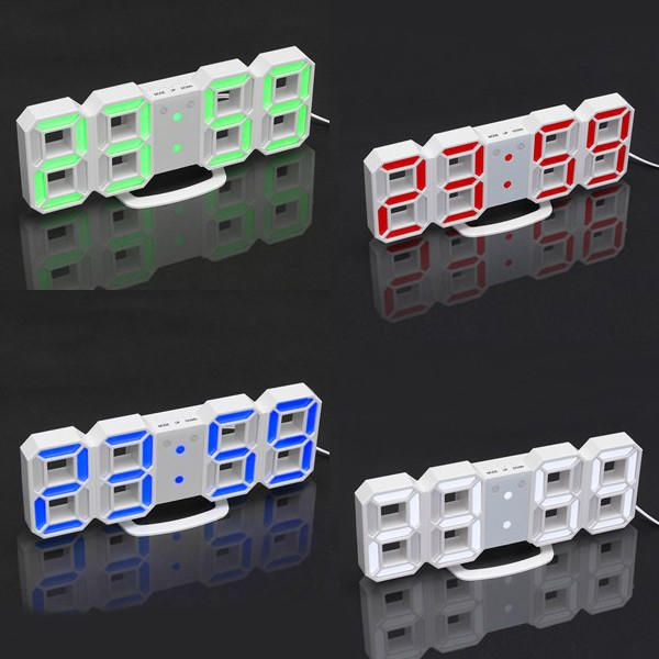 24/12 Hour 3D LED Electronic Table Desk Quartz Wall Clock With Alarm Digital  Display