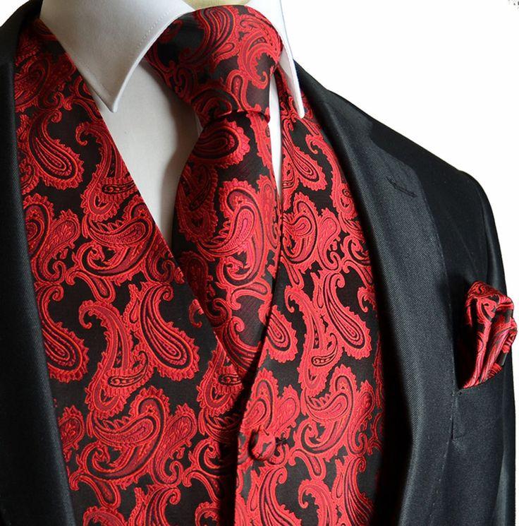 Red / Black XS to 6XL Paisley Tuxedo Suit Dress Vest от Q2ties