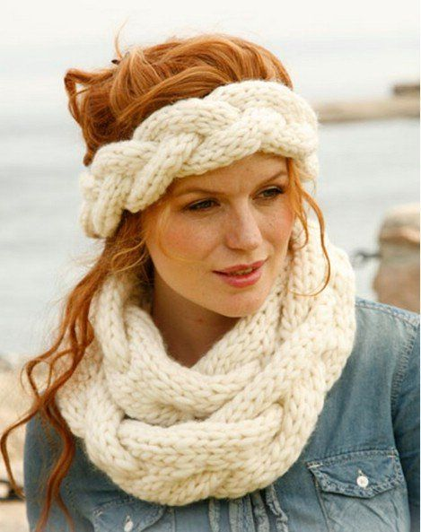 Braided infinity scarf and head band: