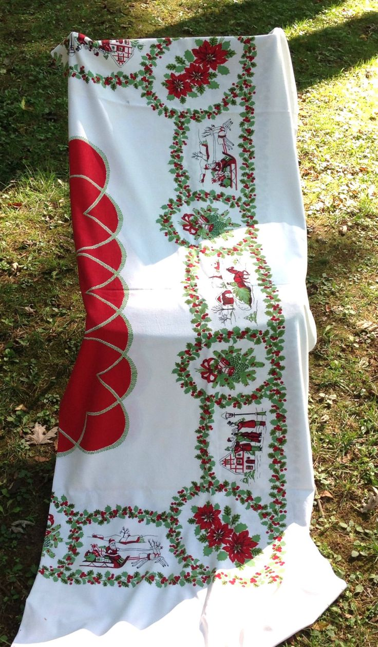 Vintage large Christmas tablecloth, holiday tablecloth, vintage linens, vintage Christmas decor, santa sleigh reindeer tablecloth by LakesideVintageShop on Etsy