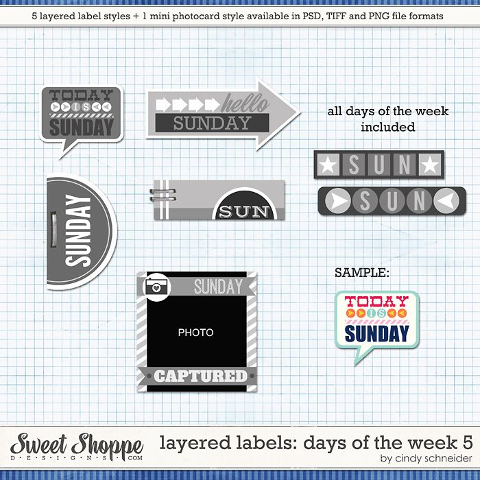 Cindy's Layered Labels: Days of the Week 5 by Cindy Schneider