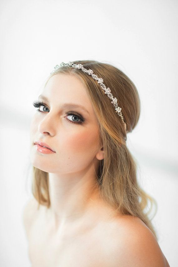 Crystal Ribbon Headband, Wedding Headband, Bridal Rhinestone Headband, Ribbon Headband More