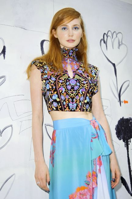 SS16 Nanette Lepore tie me up tube top red ginger hair green blue eye makeup eyeshadow