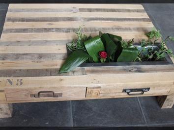 Troisi me l ment la table bois jardini re palette table for Table en palette de bois