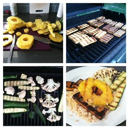 ... home teriyaki grilled tofu with grilled pineapple coconut rice