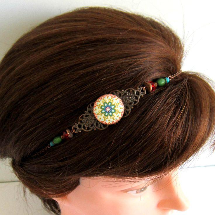 Bijou de cheveux, Headband gypsy cuivre, vert, rouge, turquoise, collier, mandala, cabochon en tissu, bohème : Accessoires coiffure par color-life-bijoux