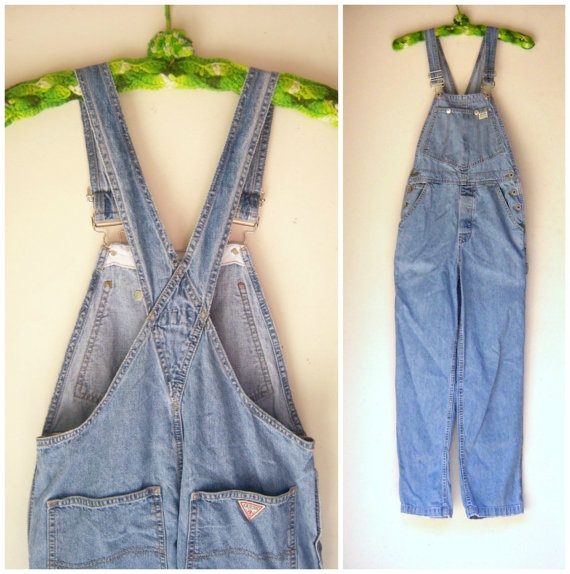 Vintage 1980s GUESS overalls / light denim jean / by dahlilafound, $85.00