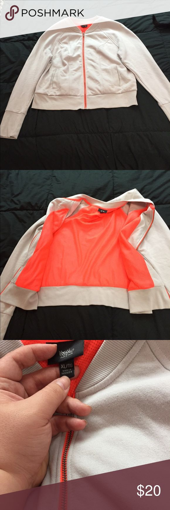 Gray Zip-Up Sweatshirt w/Orange Lining Cute light gray zip up crew neck sweatshirt with orange mesh lining. Never actually worn. Bought it for a costume for a musical but we didn't end up using it. Mossimo Supply Co. Jackets & Coats