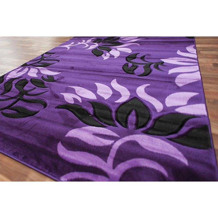 Modern Vines Area Rug Purple Carpet with Lavender and Black Vines ...