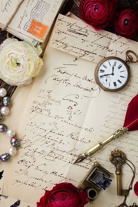 Old paper with ink stains and old letter with antique watch and feather pen by Anastasy Yarmolovich #AnastasyYarmolovichFineArtPhotography  #ArtForHome #vintage